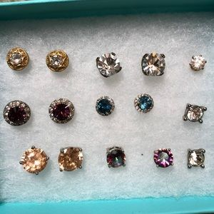 Sparkly Jewel Stud Earring Lot